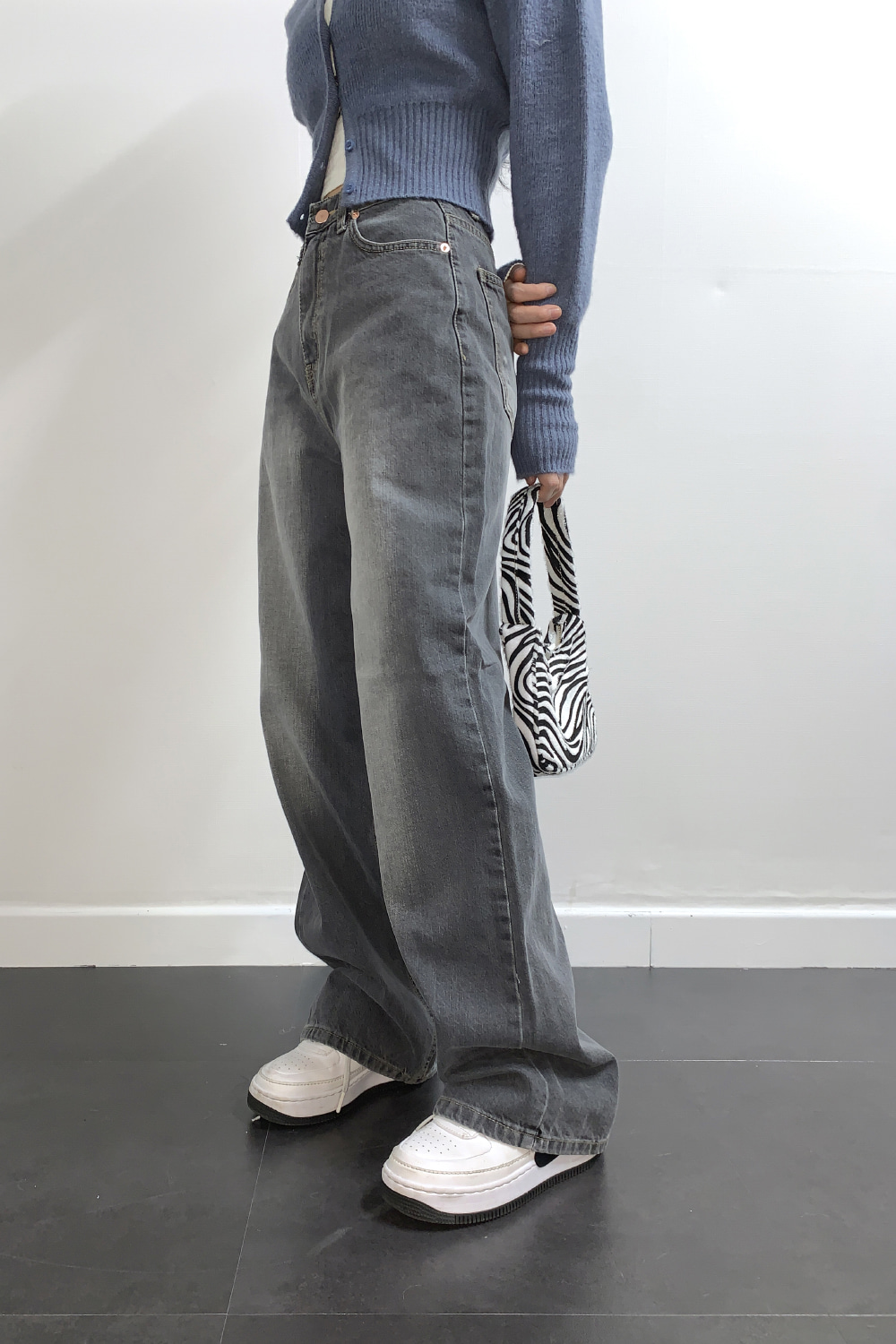 brush wide denim pants (gray)