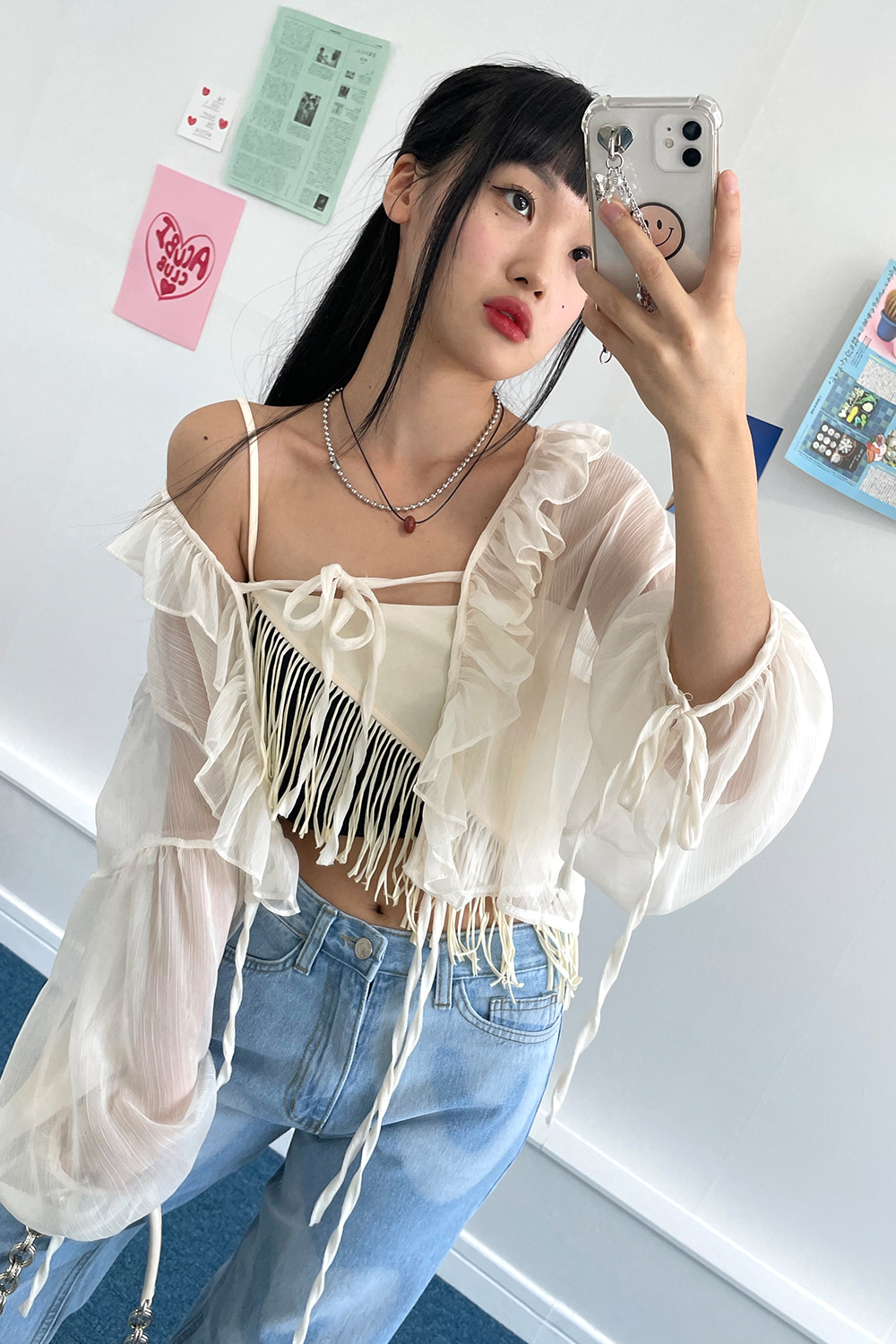 frill strap see through blouse (beige)