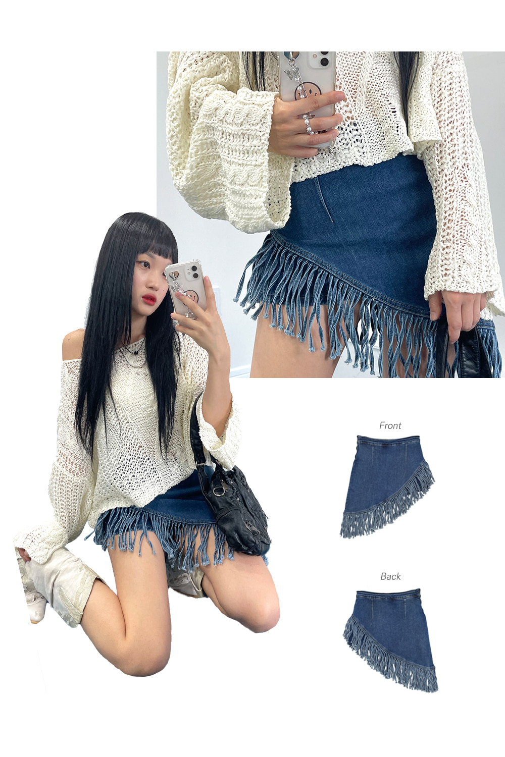 indian tessle denim skirts