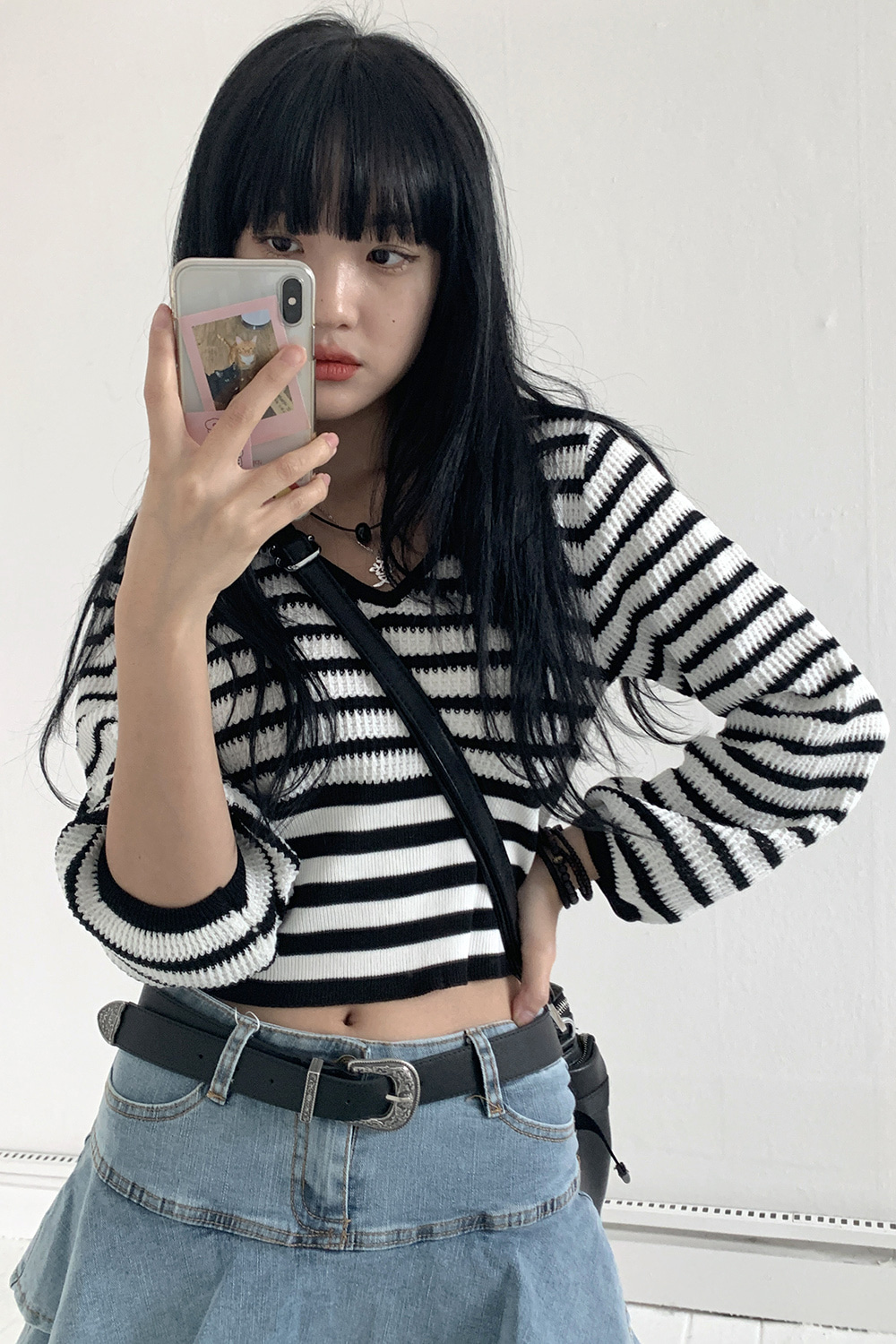 stripe puff crop knit