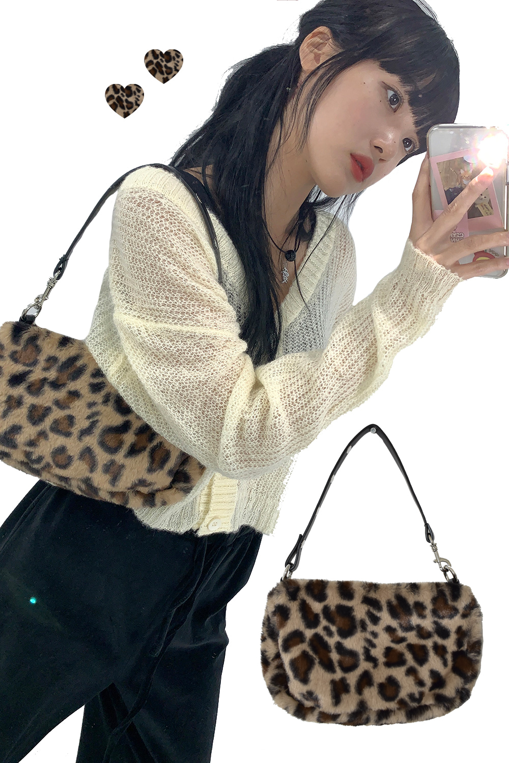 leopard fur way bag