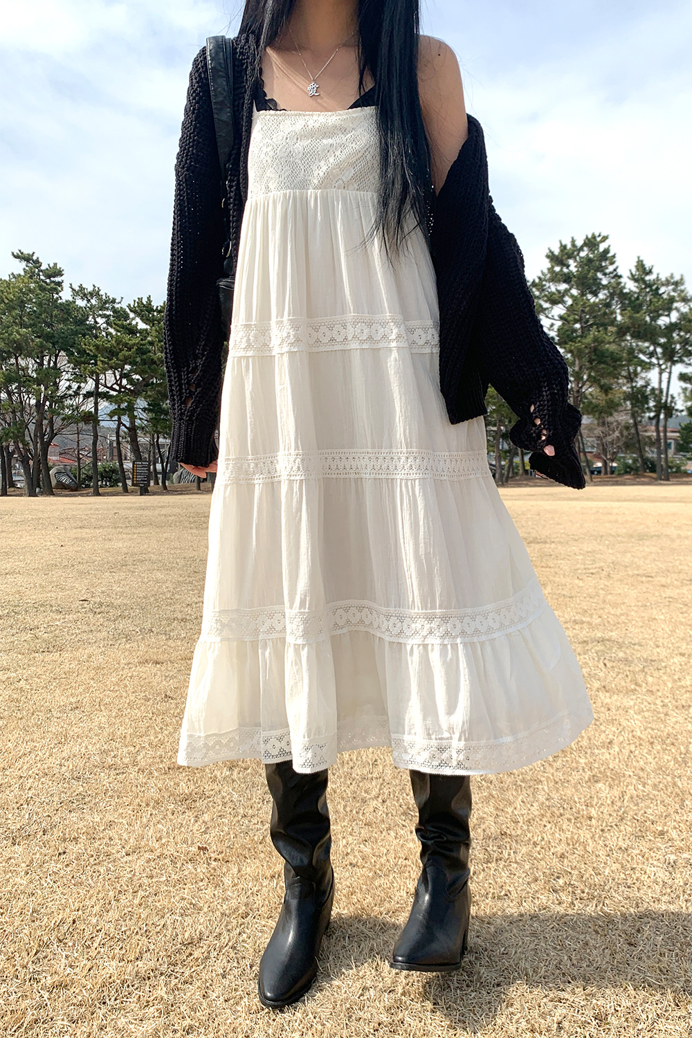 mild lace long dress