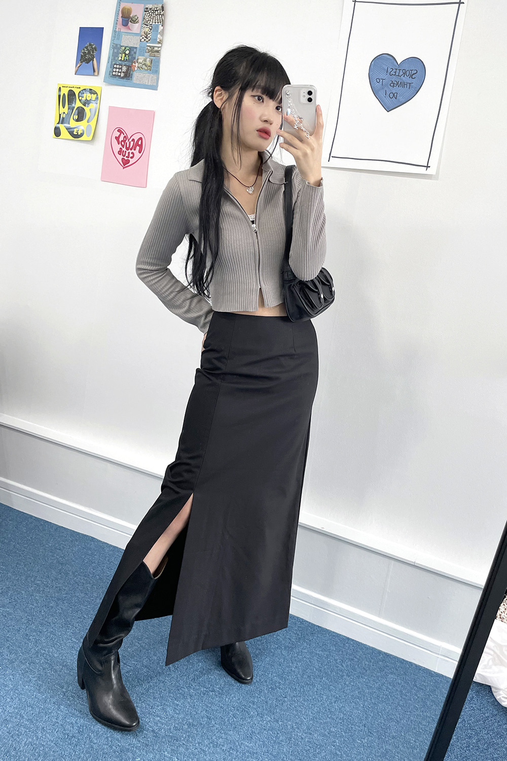 nine slit skirts (2colors)